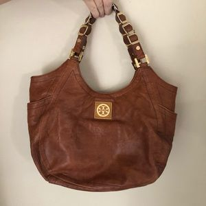 TORY BURCH Brown Leather Boho Hobo Bag Purse